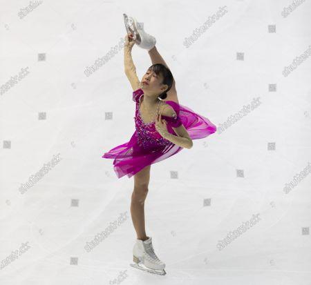 Mai Mihara of Japan performs during a short program of an ISU Grand Prix of Figure Skating competition in Kadoma near Osaka, Japan