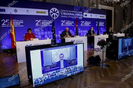 Spain's King Felipe VI takes part through video conference in presence of the High Representative of the Union for Foreign Affairs and Security, Josep Borrell (2L), Foreign Affairs Minister of Jordan, Ayman Safadi (2R), Spanish Foreign Minister, Arancha Sanchez Laya (L), and the Secretary General of the Union for de Mediterranean, Nasser Kamel, during the 5th Regional Forum of the Union for de Mediterranean held in the frame of the 25th anniversary of the Barcelona Process, in Barcelona, Spain, 27 November 2020.