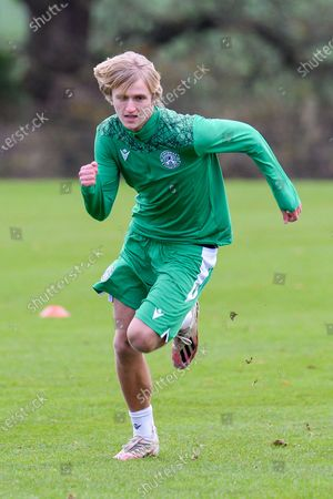 Trialist Thomas Roberts during the Hibernian training session at Hibernian Training Centre, Ormiston, ahead of their Betfred Cup match against Dundee