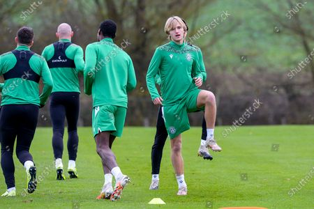 Stock Image of Trialist Thomas Roberts during the Hibernian training session at Hibernian Training Centre, Ormiston, ahead of their Betfred Cup match against Dundee