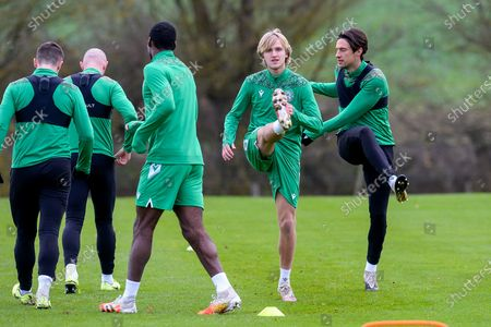 Stock Picture of Trialist Thomas Roberts (centre) during the Hibernian training session at Hibernian Training Centre, Ormiston, ahead of their Betfred Cup match against Dundee