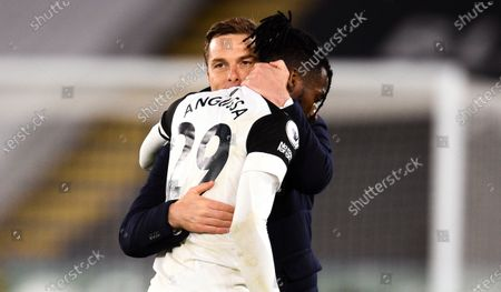 Manager Scott Parker of Fulham  celebrates with Andre-Frank Zambo