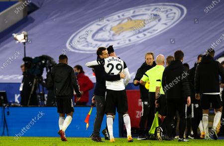 Stock Picture of Manager Scott Parker of Fulham  and Andre-Frank Zambo celebrate