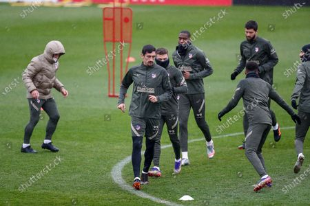 Stefan Savic warms up during the Atletico de Madrid training session at Ciudad Deportiva Wanda on november 27, 2020, in Majadahonda, Madrid, Spain
