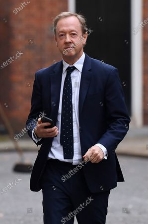 Geordie Greig, editor of the Daily Mail, leaving No.10 Downing Street.