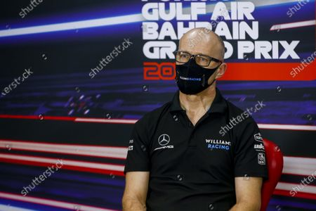 Stock Picture of Simon Roberts, Acting Team Principal, Williams Racing in the press conference  during the 2020 Formula One Bahrain Grand Prix