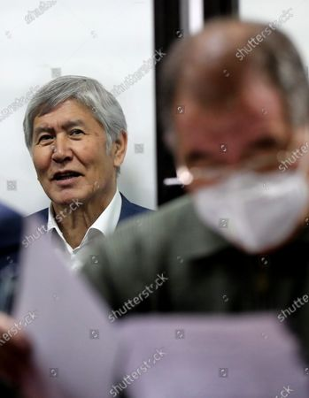 Former President of Kyrgyzstan Almazbek Atambayev at a court hearing on the events in the village of Koy-Tash in Bishkek, Kyrgyzstan, 27 November 2020. On 07 August 2019, 20 kilometers from Bishkek, in the village of Koy-Tash, the special forces of the State Committee for National Security tried to detain the politician by force in order to bring him for interrogation to the Prosecutor General's Office, as a witness. Almazbek Atambayev is charged with an article on organizing mass riots, the State Committee for National Security of Kyrgyzstan said. Almazbek Atambayev was President of Kyrgyzstan from 2011 to 2017. At the end of June 2019, parliament stripped him of his immunity.