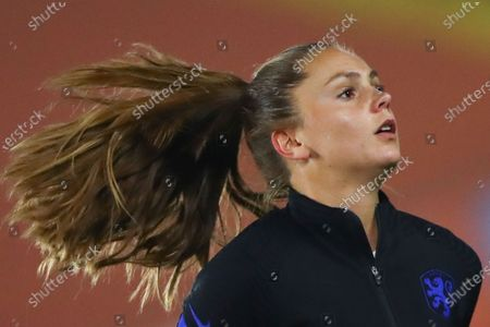 Stock Photo of Netherlands' Lieke Martens warms up prior to the international friendly women's soccer match between The Netherlands and the US at the Rat Verlegh stadium in Breda, southern Netherlands