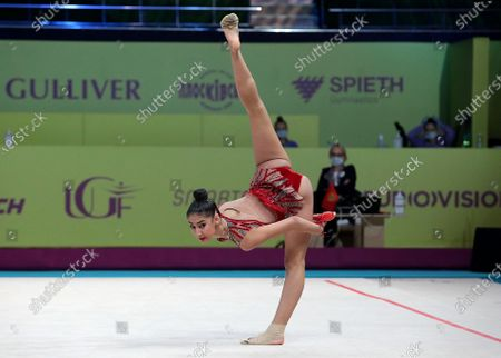 Eva Brezalieva of Bulgaria is seen in action with the clubs during the junior individual Set C qualifiers on Day Two of the 2020 European Championships in Rhythmic Gymnastics at the Palace of Sports, Kyiv, capital of Ukraine.
