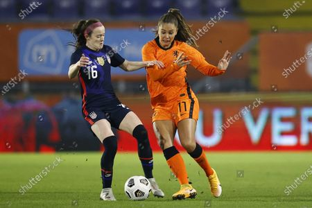 Stock Picture of Rose Lavelle (L) of USA and Lieke Martens of Netherlands in action during the women's international friendly soccer match between the Netherlands and the United States at the Rat Verlegh Stadium in Breda, The Netherlands, 27 November 2020.