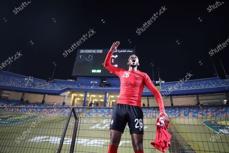 Stock Picture of Al-Ahly player Kahraba celebrates winning the CAF champion league final  soccer match between Al-Ahly and Zamalek at Cairo Stadium in Cairo Egypt, 27 November 2020.