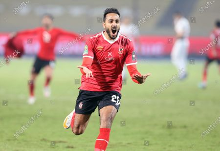 Al-Ahly player Kahraba celebrates winning the CAF champion league final soccer match between Al-Ahly and Zamalek at Cairo Stadium in Cairo Egypt, 27 November 2020.