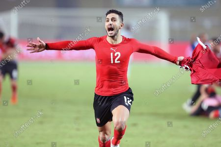 Al-Ahly player Ayman Ashraf celebrates after winning the CAF champion league final  soccer match between Al-Ahly and Zamalek at Cairo Stadium in Cairo Egypt, 27 November 2020.