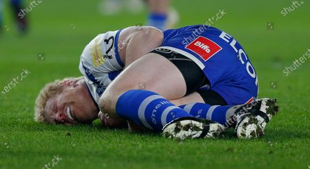 James Graham of St Helens lies injured in the 1st half