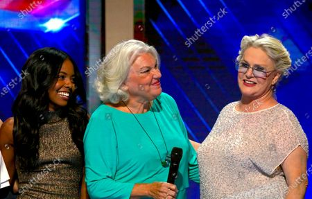 """L-R singer/dancer, Adrienne Warren, actresses Tyne Daly and Sharon Gless, perform """"What the World Needs Now"""" in honor of the victims killed in the Pulse nightclub mass shooting in Orlando on the third day of the Democratic National Convention"""