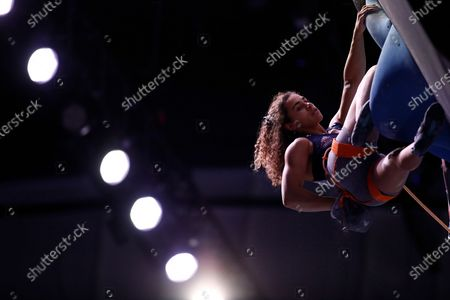 Stock Image of Molly Thompson-Smith of Great Britain competes during the women lead qualification stage in the compined at the IFSC Climbing European Continental Championships in Moscow, Russia, 27 November 2020.