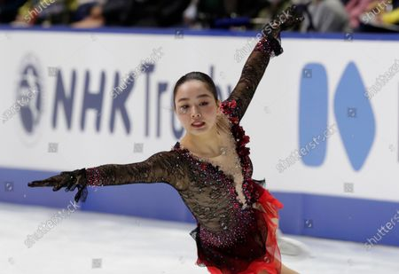 Wakaba Higuchi of Japan performs during a free skating of an ISU Grand Prix of Figure Skating competition in Kadoma near Osaka, Japan