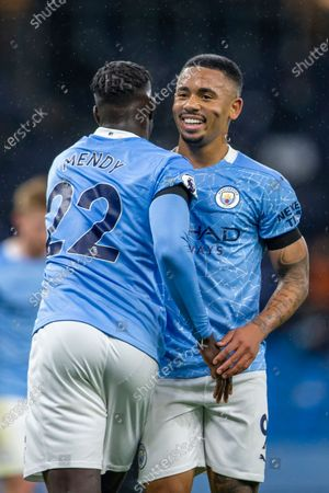 Gabriel Jesus and Benjamin Mendy of Manchester City celebrate a third goal for Man City in the 41st minute for 3-0; Etihad Stadium, Manchester, Lancashire, England; English Premier League Football, Manchester City versus Burnley.