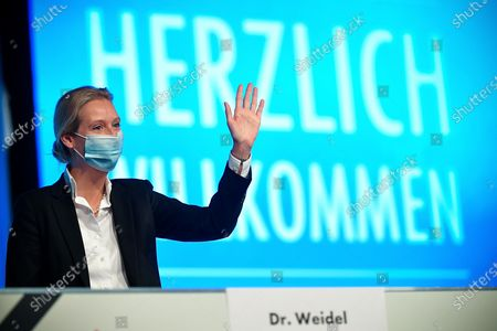 Stock Picture of Alice Weidel, deputy chairwoman of Germany's right-wing populist Alternative for Germany (AfD) party, reacts during the AfD party convention with 600 delegates attending in Kalkar, Germany, 28 November 2020. Despite the Corona pandemic, the AfD meets for a party conference. The 600 delegates want to adopt a welfare state and pension concept