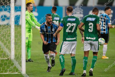 Maicon of Gremio celebrates his goal in the 65th minute for 2-0; Arena de Gremio, Porto Alegre, Brazil; Brazilian Serie A, Gremio versus Goias.