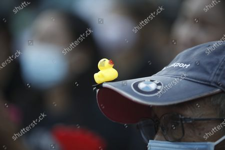 A Thai anti-government protester wearing a rubber-duck on his cap joins a street protest calling for political and monarchical reform in Bangkok, Thailand, 28 November 2020. Thailand has been facing political turmoil amid months-long street protests calling for the political and monarchical reform and the resignation of the prime minister Prayuth Chan-ocha.