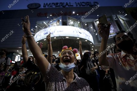 Thai anti-government protesters flash three-finger salutes and shout slogans during a street protest calling for political and monarchical reform in Bangkok, Thailand, 28 November 2020. Thailand has been facing political turmoil amid months-long street protests calling for the political and monarchical reform and the resignation of the prime minister Prayuth Chan-ocha.