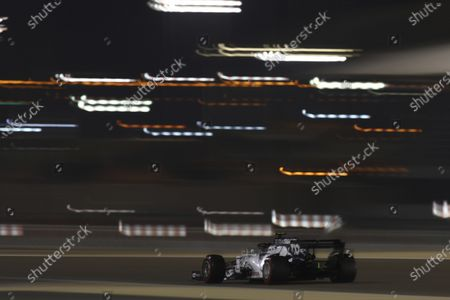 AlphaTauri driver Pierre Gasly of France steers his car during the qualifying session at the Formula One Bahrain International Circuit in Sakhir, Bahrain