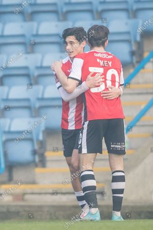 Stock Picture of GOAL: Joel Randall #14 of Exeter City scores a goal 1-2 celebrates his goal with Josh Key #30 of Exeter City