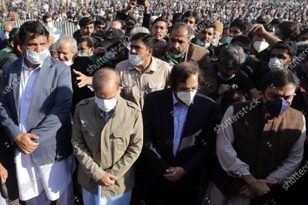 Shahbaz Sharif (2L), head of opposition party Pakistan Muslim League Nawaz (PMLN) and brother of former Pakistan's prime minister Nawaz Sharif, arrives to attend the funeral of his late mother Begum Shamim Akhtar, in Lahore, Pakistan, 28 November 2020.