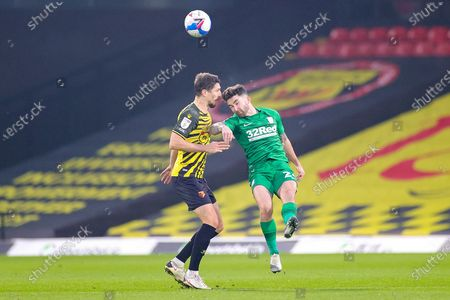 Sean Maguire (24) of Preston North End tussles with Craig Cathcart (15) of Watford during the EFL Sky Bet Championship match between Watford and Preston North End at Vicarage Road, Watford