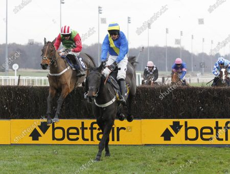The Ferry Master and Ryan Mania win the nationwidevehichlecontracts.co.uk Novices' Limited Handicap Chase from Baron De Midleton.