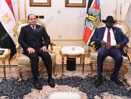 Stock Picture of Egypt's President Abdel Fattah al-Sisi meets with South Sudan's President Salva Kiir, wearing protective face masks, in Juba, South Sudan, November 28, 2020. Photo by Egyptian President Office