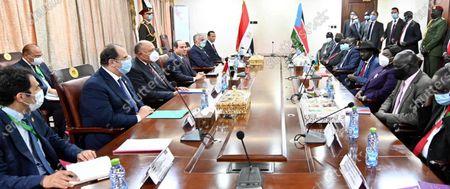 Stock Image of Egypt's President Abdel Fattah al-Sisi meets with South Sudan's President Salva Kiir, wearing protective face masks, in Juba, South Sudan, November 28, 2020. Photo by Egyptian President Office