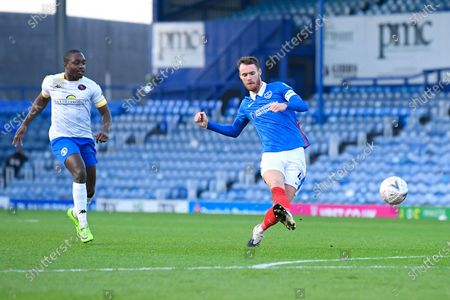 Tom Naylor of Portsmouth scores the second Portsmouth goal during Portsmouth vs King's Lynn Town, Emirates FA Cup Football at Fratton Park on 28th November 2020