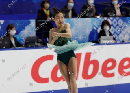 Stock Photo of Mai Mihara of Japan performs during a free skating of an ISU Grand Prix of Figure Skating competition in Kadoma near Osaka, Japan