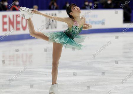Mai Mihara of Japan performs during a free skating of an ISU Grand Prix of Figure Skating competition in Kadoma near Osaka, Japan