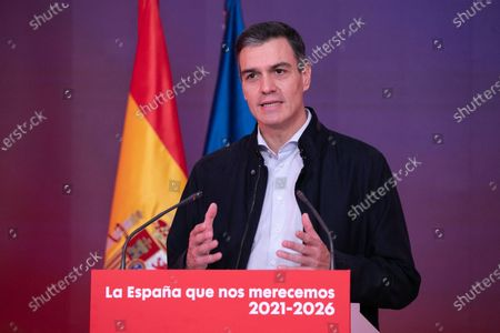 Stock Photo of A handout photo made available by PSOE shows Spanish Prime Minister and Secretary General of the Spanish socialist party (PSOE) Pedro Sanchez during an event titled 'The Spain we Deserve' held at the party's headquarters in Madrid, Spain, 28 November 2020.