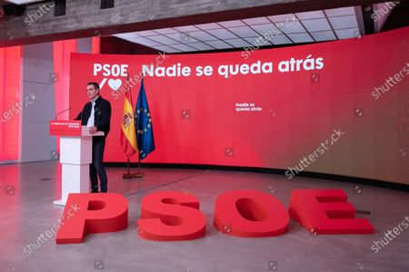 A handout photo made available by PSOE shows Spanish Prime Minister and Secretary General of the Spanish socialist party (PSOE) Pedro Sanchez during an event titled 'The Spain we Deserve' held at the party's headquarters in Madrid, Spain, 28 November 2020.