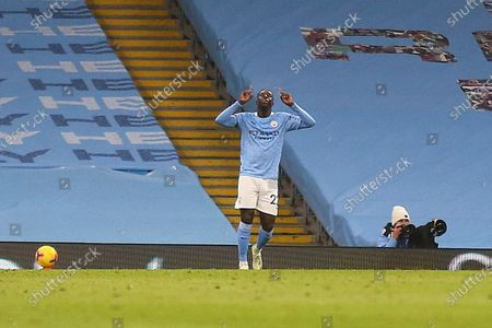 GOAL 3-0 Manchester City defender Benjamin Mendy (22) scores a goal and celebrates during the Premier League match between Manchester City and Burnley at the Etihad Stadium, Manchester