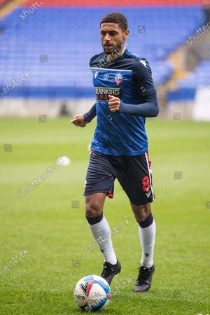 Stock Picture of Bolton Wanderers midfielder Brandon Comley (8) warming up before the EFL Sky Bet League 2 match between Bolton Wanderers and Southend United at the University of  Bolton Stadium, Bolton