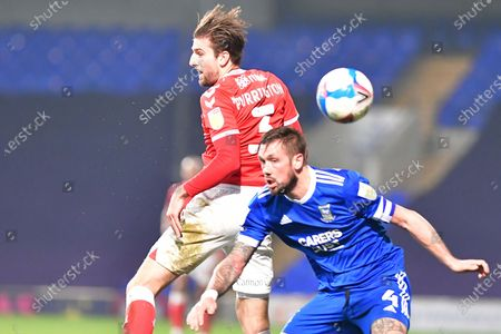 Charlton Athletic defender Ben Purrington (3) Ipswich Town defender Luke Chambers (4)  battles for possession during the EFL Sky Bet League 1 match between Ipswich Town and Charlton Athletic at Portman Road, Ipswich