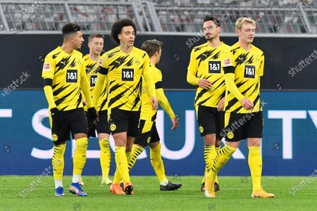 Dortmund players reacts after Cologne's Ellyes Skhiri scored his side's second goal during the German Bundesliga soccer match between Borussia Dortmund and 1.FC Cologne in Dortmund, Germany