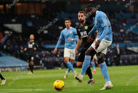 Manchester City's Benjamin Mendy scores against Burnley during the English Premier League soccer match between Manchester City and Burnley FC in Manchester, Britain, 28 November 2020.