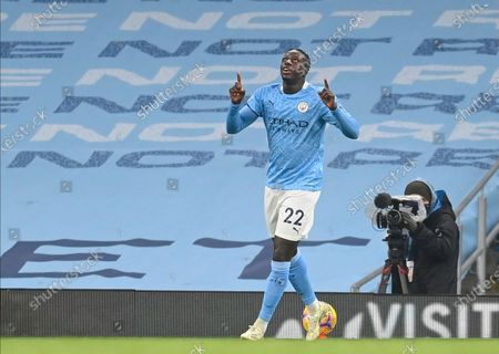 Stock Picture of Manchester City's Benjamin Mendy reacts after scoring against Burnley during the English Premier League soccer match between Manchester City and Burnley FC in Manchester, Britain, 28 November 2020.