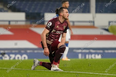 Leeds United midfielder Jack Harrison (22) gestures and reacts during the Premier League match between Everton and Leeds United at Goodison Park, Liverpool