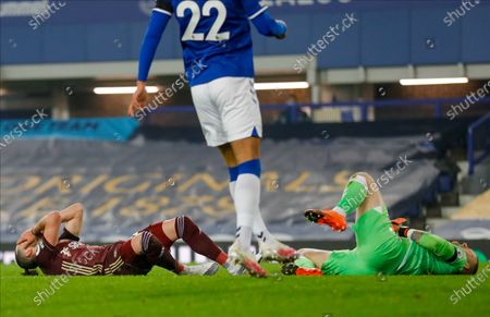 Leeds United midfielder Jack Harrison (22), on loan from Manchester City, misses during the Premier League match between Everton and Leeds United at Goodison Park, Liverpool