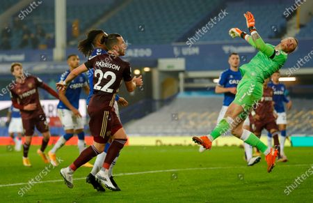 Leeds United midfielder Jack Harrison (22), on loan from Manchester City, hits the woodwork during the Premier League match between Everton and Leeds United at Goodison Park, Liverpool