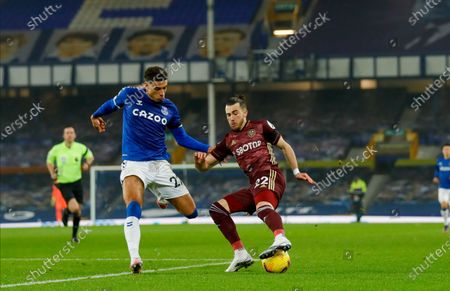 Leeds United midfielder Jack Harrison (22), on loan from Manchester City,  during the Premier League match between Everton and Leeds United at Goodison Park, Liverpool