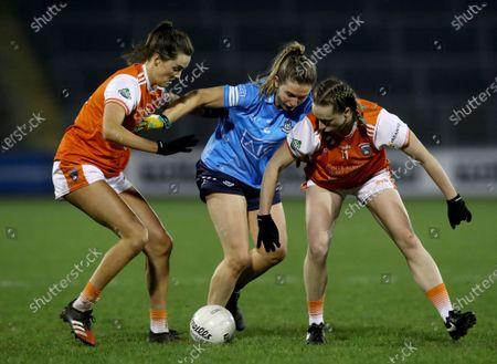Armagh vs Dublin. Armagh's Aimee Mackin and Aoife McCoy tackle Martha Byrne of Dublin