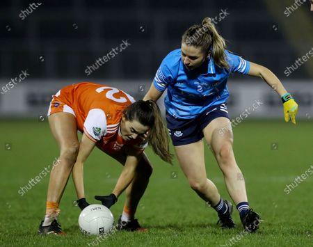 Armagh vs Dublin. Armagh's Aimee Mackin and Martha Byrne of Dublin